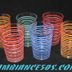 6 verres lignes couleurs et blanc.1