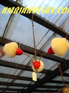 plafonnier 3 branches plexi rouge blanc