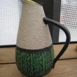 carafe ceramique verte beige.2