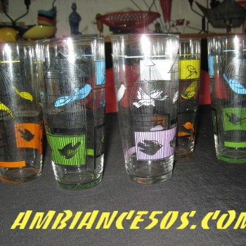 5 verres MDL oiseaux