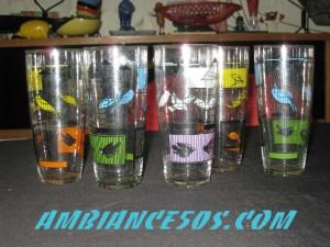 5 verres MDL oiseaux.2