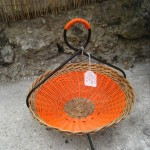 corbeille bambou fer et scoubldou orange