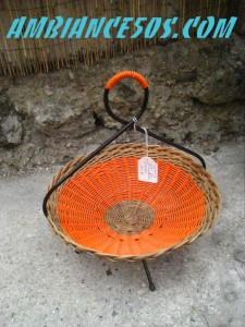 corbeille bambou fer et scoubldou orange