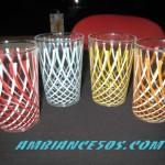 4 verres motif croisé 4 couleurs