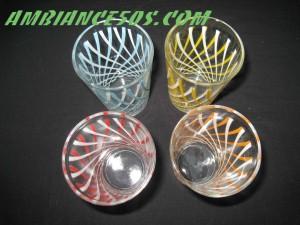 4 verres motif croisé 4 couleurs.1